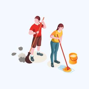 Sprzątający ludzie